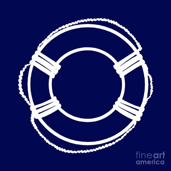 Parts Of A Boat Digital Art - Life Preserver In White And Navy Blue by Jackie Farnsworth