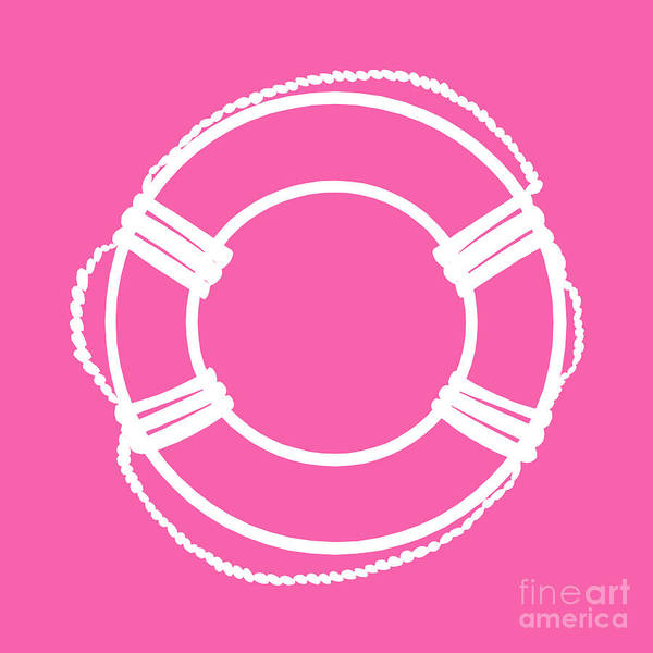 Parts Of A Boat Digital Art - Life Preserver In White And Pink by Jackie Farnsworth