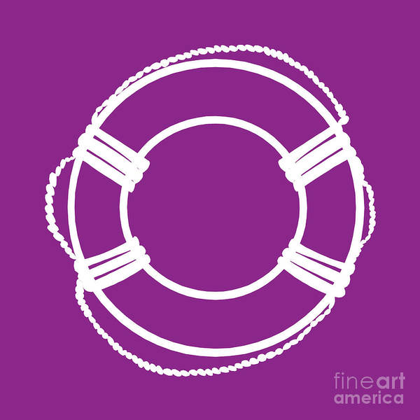 Parts Of A Boat Digital Art - Life Preserver In White And Purple by Jackie Farnsworth