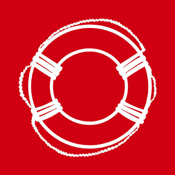 Parts Of A Boat Digital Art - Life Preserver In White And Red by Jackie Farnsworth