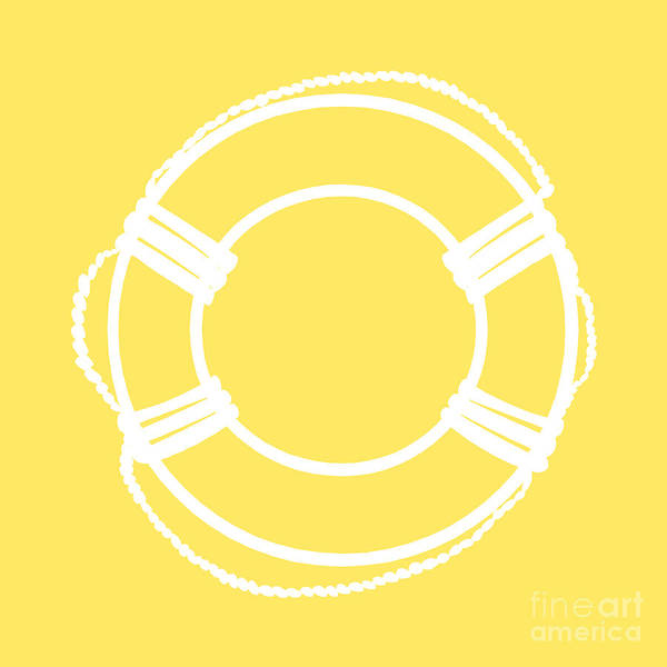 Parts Of A Boat Digital Art - Life Preserver In White And Yellow by Jackie Farnsworth