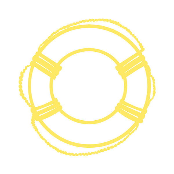 Parts Of A Boat Digital Art - Life Preserver In Yellow And Whtie by Jackie Farnsworth