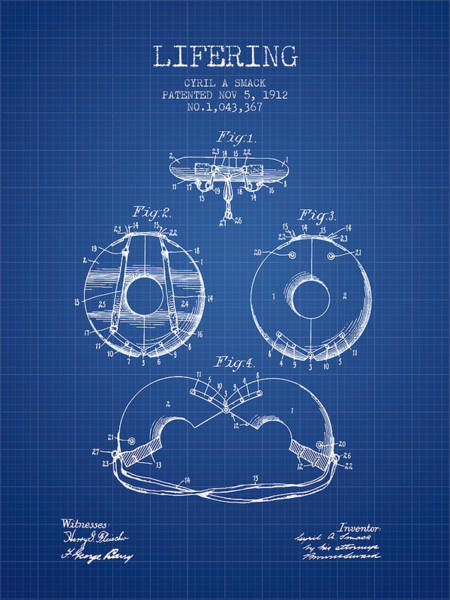 Lifeguard Digital Art - Life Ring Patent From 1912 - Blueprint by Aged Pixel