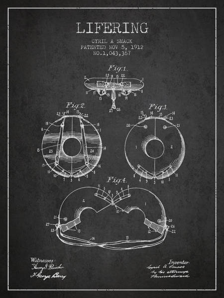Lifeguard Digital Art - Life Ring Patent From 1912 - Charcoal by Aged Pixel