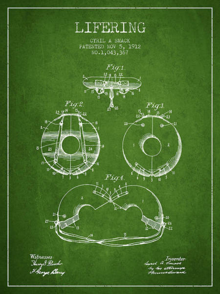 Lifeguard Digital Art - Life Ring Patent From 1912 - Green by Aged Pixel