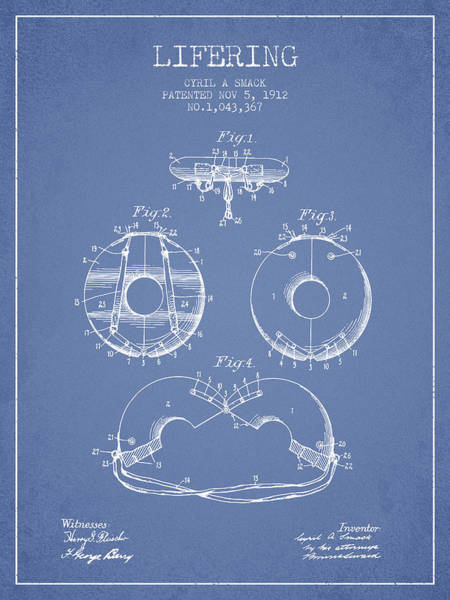 Lifeguard Digital Art - Life Ring Patent From 1912 - Light Blue by Aged Pixel