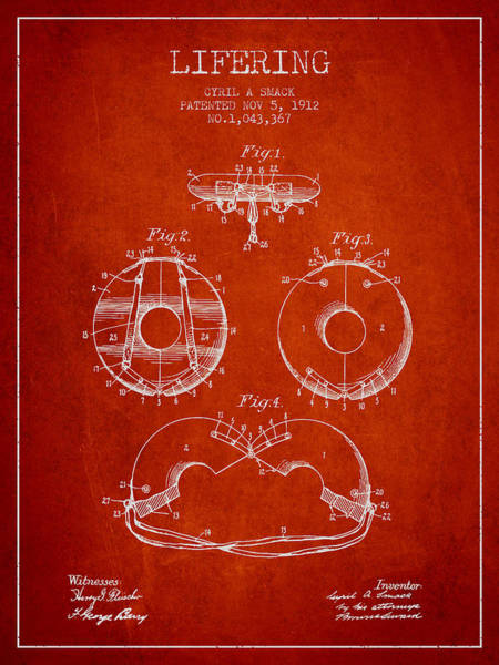 Lifeguard Digital Art - Life Ring Patent From 1912 - Red by Aged Pixel
