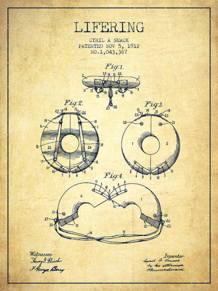 Lifeguard Digital Art - Life Ring Patent From 1912 - Vintage by Aged Pixel