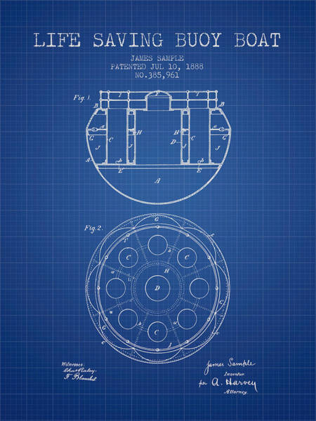 Lifeguard Digital Art - Life Saving Buoy Boat Patent From 1888 - Blueprint by Aged Pixel