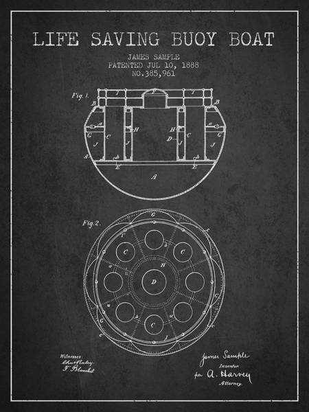 Lifeguard Digital Art - Life Saving Buoy Boat Patent From 1888 - Charcoal by Aged Pixel
