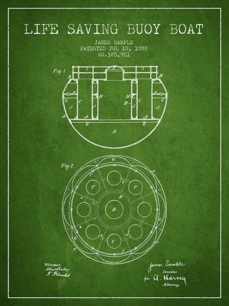 Lifeguard Digital Art - Life Saving Buoy Boat Patent From 1888 - Green by Aged Pixel