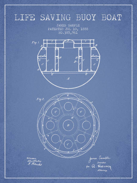 Lifeguard Digital Art - Life Saving Buoy Boat Patent From 1888 - Light Blue by Aged Pixel