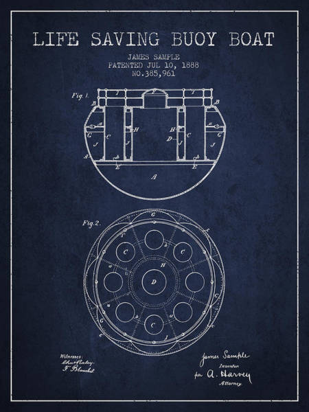 Saving Wall Art - Digital Art - Life Saving Buoy Boat Patent From 1888 - Navy Blue by Aged Pixel