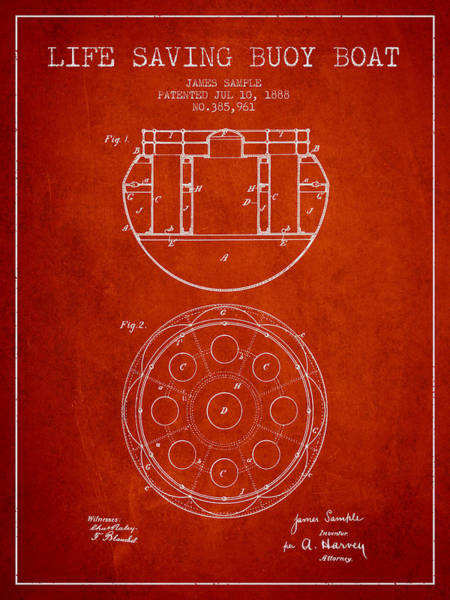Lifeguard Digital Art - Life Saving Buoy Boat Patent From 1888 - Red by Aged Pixel