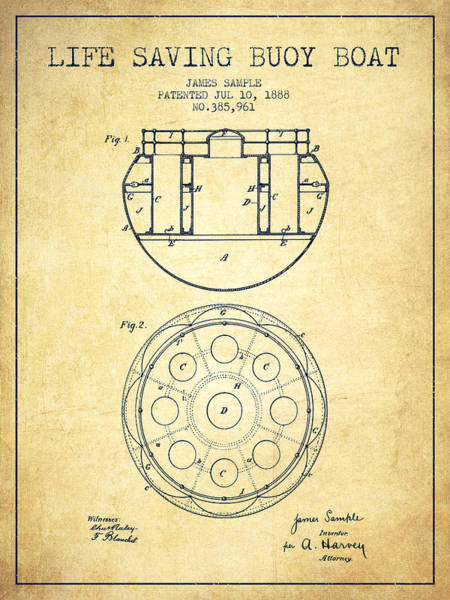 Lifeguard Digital Art - Life Saving Buoy Boat Patent From 1888 - Vintage by Aged Pixel