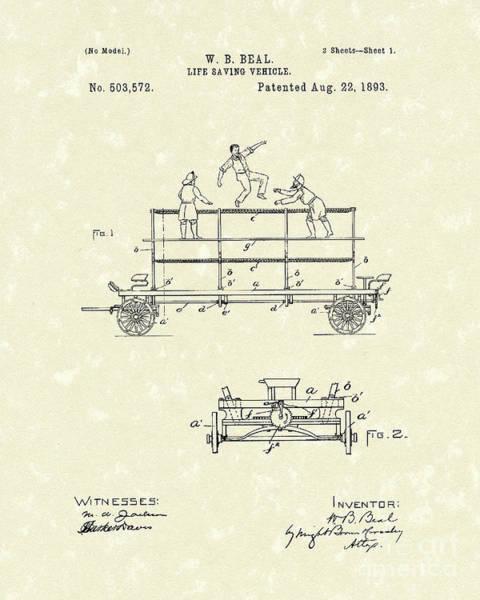 Vehicle Drawing - Life-saving Vehicle 1893 Patent Art  by Prior Art Design
