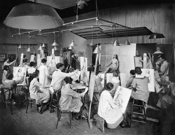 Charcoal Drawing Photograph - Life Studies At Art School by Underwood Archives