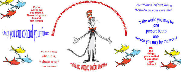 Cat In The Hat Wall Art - Digital Art - Life Words - Dr Seuss by Georgia Fowler