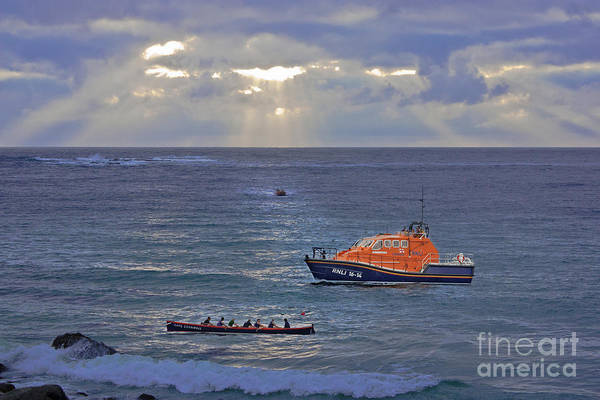 Sennen Cove Photograph - Lifeboats And A Gig by Terri Waters