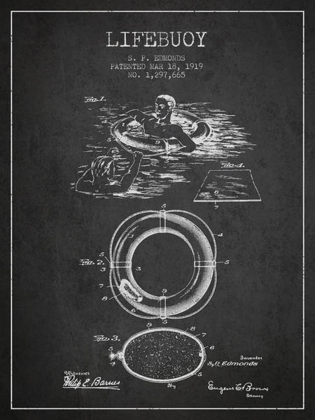 Saving Wall Art - Digital Art - Lifebuoy Patent From 1919 - Charcoal by Aged Pixel