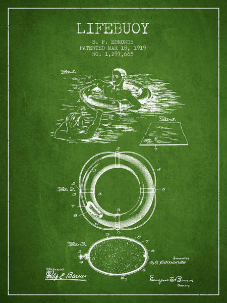 Lifeguard Digital Art - Lifebuoy Patent From 1919 - Green by Aged Pixel