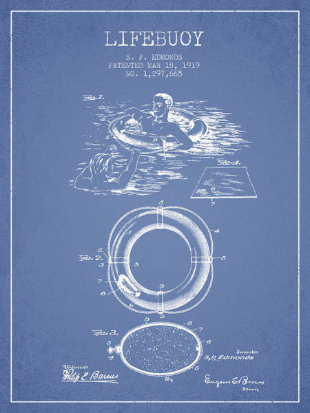 Lifeguard Digital Art - Lifebuoy Patent From 1919 - Light Blue by Aged Pixel