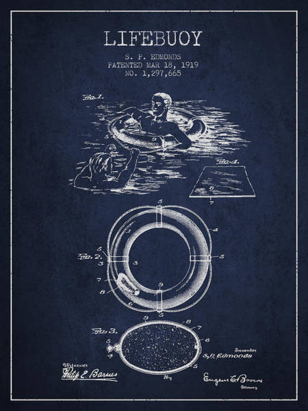 Lifeguard Digital Art - Lifebuoy Patent From 1919 - Navy Blue by Aged Pixel