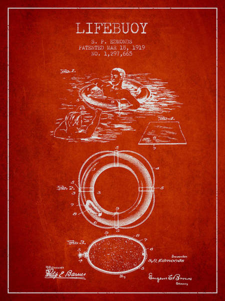 Lifeguard Digital Art - Lifebuoy Patent From 1919 - Red by Aged Pixel
