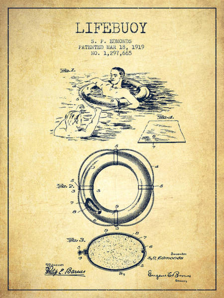 Lifeguard Digital Art - Lifebuoy Patent From 1919 - Vintage by Aged Pixel