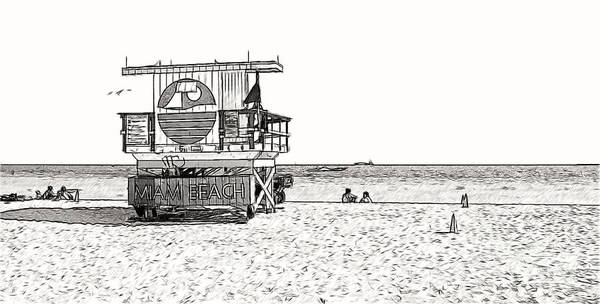 Photograph - Lifeguard Station On Miami Bach by Les Palenik