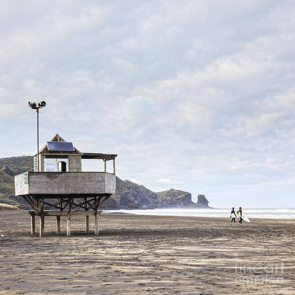 Wall Art - Photograph - Lifeguard Tower And Surfers Bethells Beach New Zealand by Colin and Linda McKie