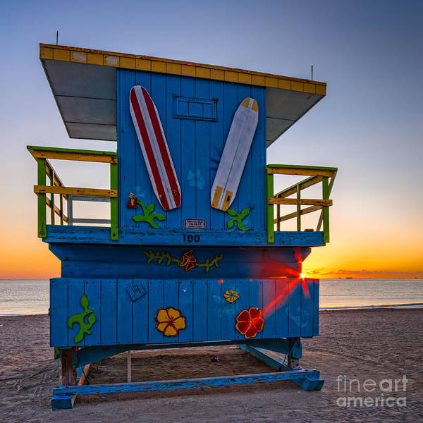 Fisher Island Photograph - Lifeguard Tower Of South Beach At Sunrise - Lummus Park - Miami Beach Florida by Silvio Ligutti
