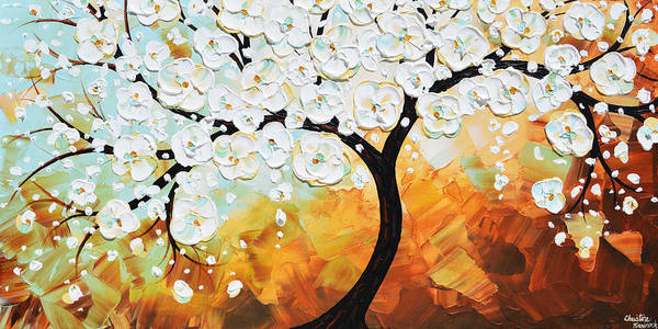 Wall Art - Painting - Life's Innocence - White Cherry Tree by Christine Bell