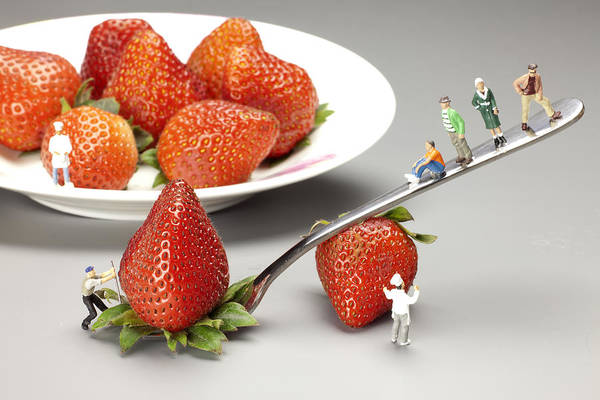 Wall Art - Photograph - Lifting Strawberry By A Fork Lever Food Physics by Paul Ge