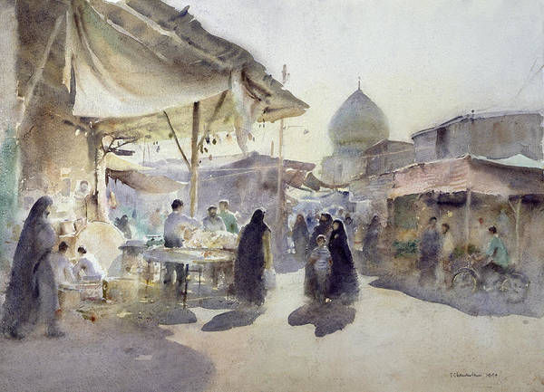 Onion Domes Photograph - Light And Shade, Shiraz Bazaar, 1994 Wc On Paper by Trevor Chamberlain