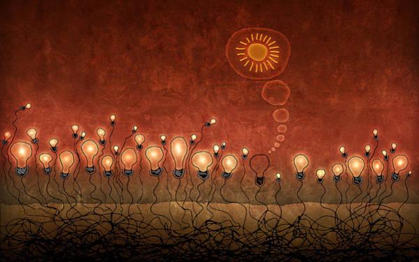 Light Bulb God Art Print