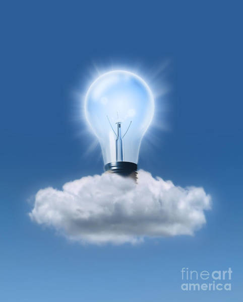Photograph - Light Bulb In Cloud by Mike Agliolo
