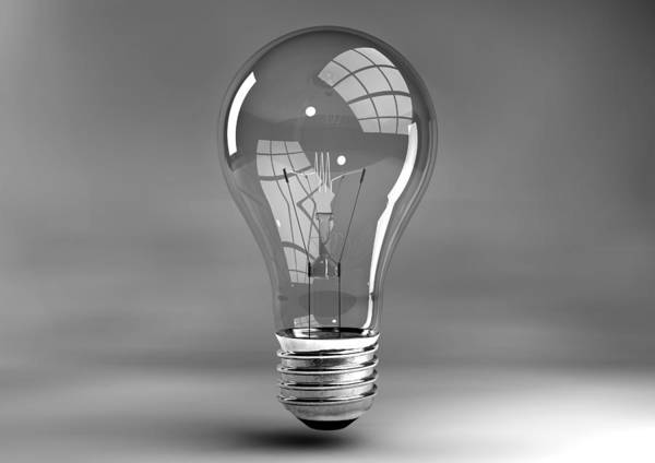 Reflective Digital Art - Light Bulb In Studio by Allan Swart