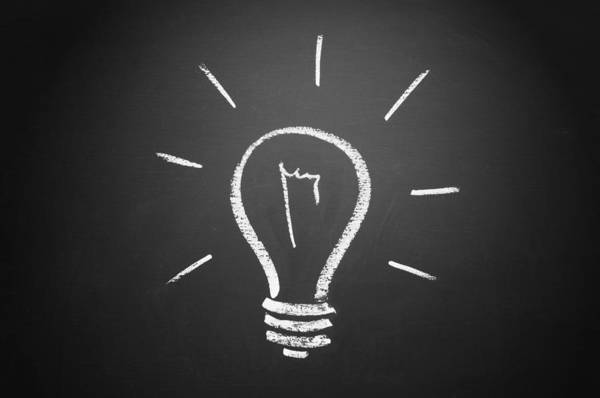 Office Photograph - Light Bulb On A Chalkboard by Chevy Fleet