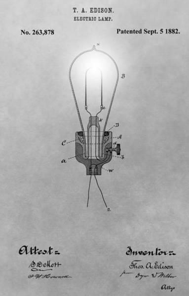 Wall Art - Digital Art - Electric Lamp Patent by Dan Sproul