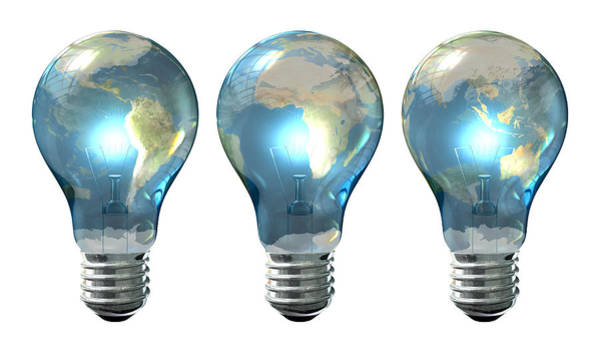Illuminated Digital Art - Light Bulb World Globe Series by Allan Swart