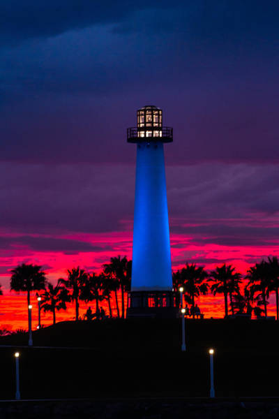 Light House In The Firey Sky Art Print