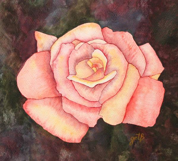 Single Rose Painting - Light Pink Rose Original Watercolor Painting On Paper by Georgeta  Blanaru