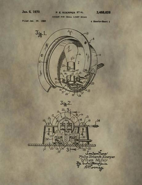Wire Mixed Media - Light Socket Patent by Dan Sproul