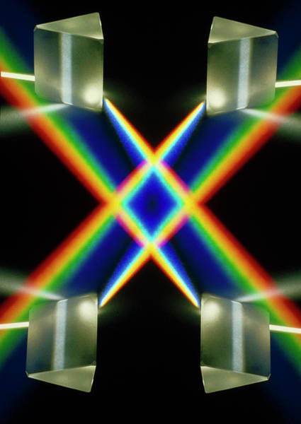 Optics Photograph - Light Through Prisms by David Parker/science Photo Library