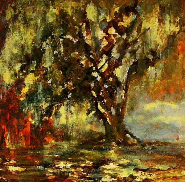 Light Through The Moss Tree Landscape Painting Art Print