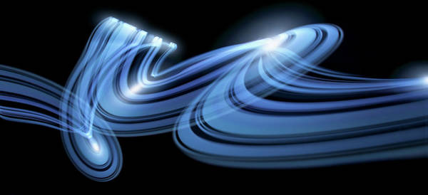 Beam Of Light Photograph - Light Trails Creating An Abstract Blue by Ralf Hiemisch
