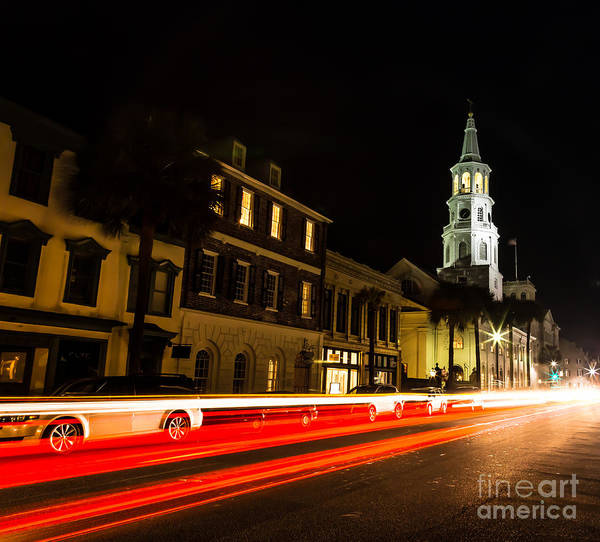 Photograph - Light Trails On Broad St. Charleston Sc by Donnie Whitaker