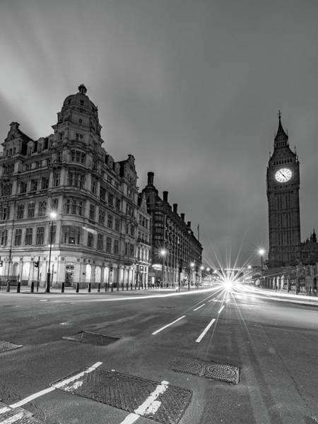 The Clock Tower Photograph - Light Trails On Street Against Big Ben by Benjamin Van Der Spek / Eyeem