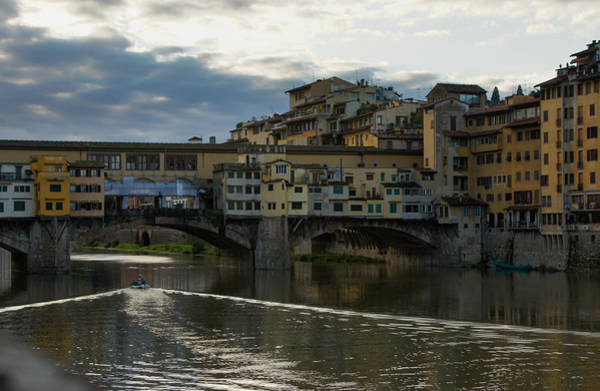 Photograph - Light Trails Under Ponte Vecchio In Florence by Georgia Mizuleva